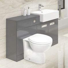Grey Cuba Right Hand Combination Unit. The Cuba Grey Combination unit is both contemporary and stylish with a minimalistic and concealed character, this compact unit is ideal for any bathroom with its versatility and storage design. Included in this combi