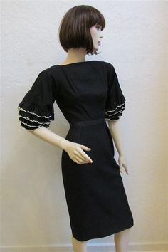 cb1131b9 1960's Vintage MAM'SELLE Black Wiggle Dress With White and Black Ruffle  Sleeves - Size