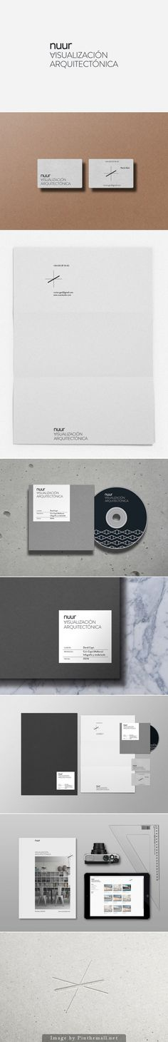Nuur architects branding stationary corporate identity business card letterhead enveloppe label cd magazine website minimal graphic design pattern logo b&w embossed