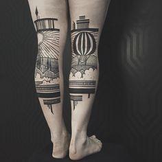 """Den Stil seiner """"Back of Lege""""-Tattoos beschreibt das Duo """"Thieves of Tower"""" selbst als eine Symbiose aus Traditional, Oldschool, Baroque und Blackwork."""