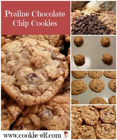 Praline Chocolate Chip Cookies: ingredients, directions, and special baking tips from The Elf to make this delicious variation of the traditional chocolate chip cookie recipe. Drop Cookie Recipes, Cake Mix Cookie Recipes, Cake Mix Cookies, Cookies Et Biscuits, Drop Cookies, Kiss Cookies, Pecan Cookies, Pecan Pies, Yummy Cookies