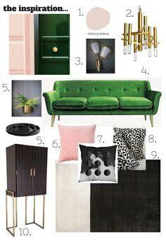 BLUSH, emerald green & brass scheme