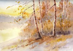 Original Watercolor Painting,  Colors of Autumn, SHIPPING FREE