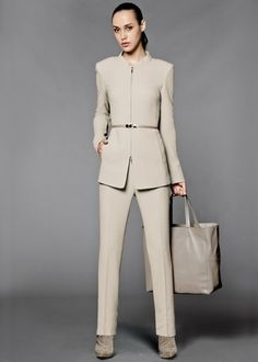 Channeling the Olivia Pope Style with the Lofty Crepe Bleecker Pant Suit in Khaki.