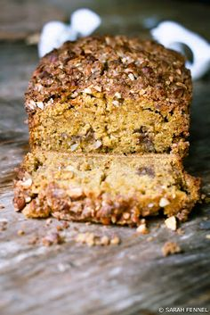 Pumpkin bread with almond streusel