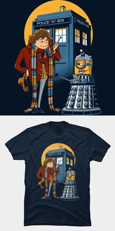 A mashup T shirt of the movie, Despicable Me and the fourth doctor from the sci-fi TV show, Doctor Who. The minion dalek is funny! Visit http://shirtminion.com/2014/10/doctor-gru