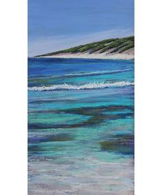 Ann Steer Artist - Summer Bliss Painting - Artwork - paint - painter - beach - seascape - landscape - sand - water - clear - waves - salt - sandy - beach - coast - love - play - blue - green - contemporary art - collectable art - green - bush - greenery