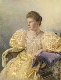 Portrait of an Elegant Lady in a Yellow Dress - Carl Bunzl 1894