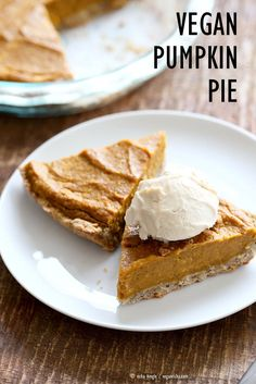 Easy Vegan Pumpkin Pie with a few ingredients and a rustic crust. Can be made gluten-free. Serve with whipped coconut cream or vanilla ice cream. Can be made nut-free with a different crust. Pumpkin Pie Mix, Vegan Pumpkin Pie, Vegan Pie, Baked Pumpkin, Pumpkin Recipes, Pumpkin Puree, Vegan Food, Pumpkin Dessert, Almond Recipes