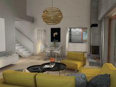 Projekt domu Maja II 108,43 m2 - koszt budowy 187 tys. zł - EXTRADOM Modern Bungalow House, Modern House Design, Conference Room, Ceiling Lights, Furniture, Home Decor, Two Story Houses, Prefab Houses, Interior Design
