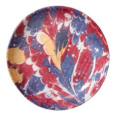 John Derian Company Inc — Red Blue & Yellow Marble Soup Plate