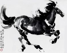 Chinese ink horse paintings. 徐悲鸿_骏马9 Painted by Xu Beihong