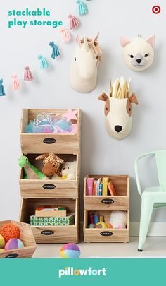 The right storage makes any kid's bedroom or playroom modern, cute and easy to organize. Pillowfort's wooden crates are designed to stack, and write-on chalkboard labels show little ones exactly where their costumes, books and toys should end up after a day of play.