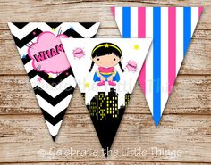 Superhero Banner for Girls | Pennant Banner | Perfect for Party