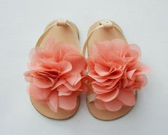 Leather baby sandals with vintage pink chiffon flower by KELLSEYS, $21.95