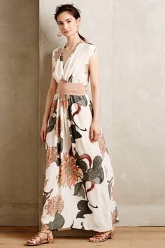Forestbloom Silk Maxi Dress - anthropologie.com