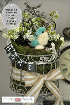 Shabby Chic Birdcage Decor by Vintage Charm Restored