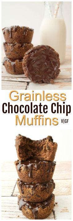 Gooey Vegan Grainless Chocolate Chip Muffins