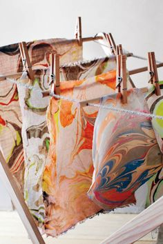 Fabric created using marbling method by Dreamsicle Sisters