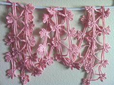 -Crochet Flower Pink Scarf, Skinny Lariat Necklace, Crochet Soft Bright ...