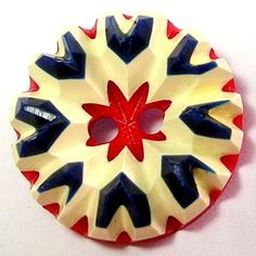 1940's Red White Blue Carved French Bakelite/Galalith Button ...Sold for $25