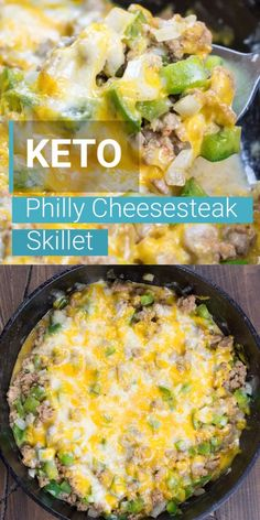 One Pan Keto Philly Cheesesteak Skillet - Best Keto Recipes! - Try this easy One Pan Keto Philly Cheesesteak Skillet for an easy low carb dinner! This 20 minute meal is under 5 carbs and loaded with ground beef, onions, peppers and cheese! Keto Foods, Ketogenic Recipes, Diet Recipes, Cooking Recipes, Healthy Recipes, Ketogenic Diet, Easy Gluten Free Recipes, Keto Crockpot Recipes, Breakfast Recipes