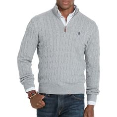 Polo Ralph Lauren Cable-Knit Mockneck Sweater ($99) ❤ liked on Polyvore featuring men's fashion, men's clothing, men's sweaters, fawn grey, mens zipper sweater, mens ribbed sweater, mens cable sweater, mens chunky cable knit sweater and mens cable knit shawl collar sweater