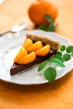 Raw Chocolate Fudge and Mandarin Orange Tart from Vegan Chocolate by Fran Costigan