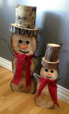 Wood Sliced Snowman