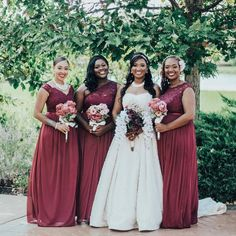 You can never go wrong with a little bit of lace! That's why we love these lace and mesh bridesmaid dresses! Shop these bridesmaid dresses and more at David's Bridal Davids Bridal Bridesmaid Dresses, Burgundy Bridesmaid Dresses, Burgundy Wedding, Red Wedding, Wedding Day, Wedding Dresses, Bridesmaids, Wedding List, Spring Wedding