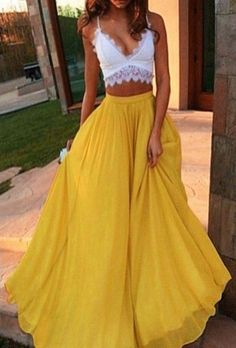 skirt yellow maxi casual beach long skirt feminine fashion style flowy clothes high waisted skirts and tops dress top lace white indie boho cropped prom dress maxi skirt