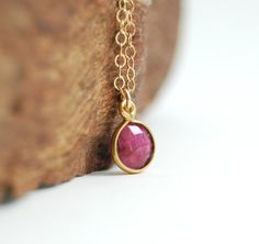 Kamaka necklace  14kt gold filled genuine red ruby by kealohajewelry