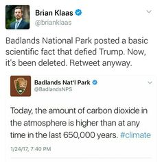 """Repeated, for all the would-be """"deplorables"""" that believe man's influence on climate change is a political consideration."""