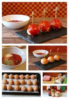 """Albóndigas de pollo-pavo """"al estilo de Buffalo""""  Lígeras, fáciles y al horno. Podéis ver el paso a paso en http://elfestindemarga.blogspot.com.es/2014/09/albondigas-de-pollo-pavo-al-estilo-de.html#more"""