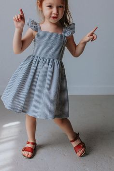 Beautifully constructed, boutique gray seersucker dress, for the boho Southern Belle. Perfect for monogramming. Machine-washable and fade-resistant. Baby Girl Dress Design, Girls Frock Design, Kids Frocks Design, Baby Frocks Designs, Dress Girl, Baby Girl Frocks, Frocks For Girls, Kids Summer Dresses, Little Girl Dresses