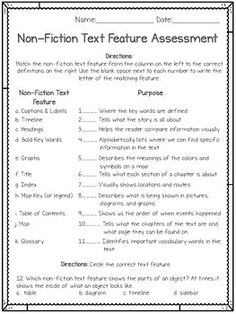 Digital Learning: Self-Grading Nonfiction Text Feature Quiz: Digital & Printable Grade 2, Second Grade, Literacy Assessment, Grading Papers, Quiz With Answers, Nonfiction Text Features, Test Prep, Teacher Pay Teachers, Charts