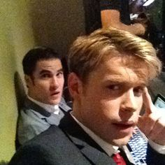 Darren Criss and Chord Overstreet in Suits Filming Glee Season 4 on August 20, 2012