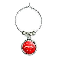 Wine Glass Charm Drink Marker I Love Heart Dogs N-R - Papillons * Visit the image link more details.