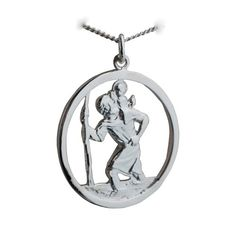 Silver 30mm round cut out St Christopher Pendant with Curb Chain 24 inches…