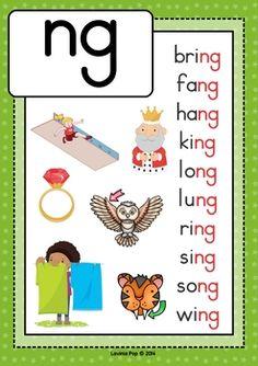 Digraph NG: Phonics Word Work {Multiple Phonograms} by Lavinia Pop Phonics Chart, Phonics Flashcards, Phonics Worksheets, Alphabet Phonics, Blends Worksheets, English Phonics, Teaching English Grammar, English Writing Skills, English Vocabulary