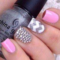 Chevron pink and silver
