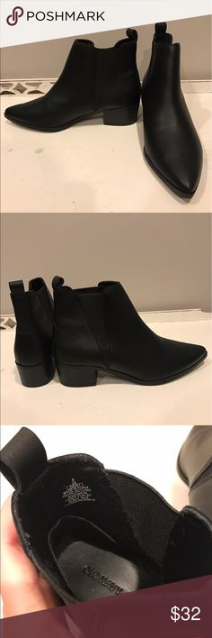 NWOT Old Navy Pointed-toe Booties Never worn! New condition. Pointed black Bootie from Old Navy. Elastic stretch sides. Small heel of 1.5in Old Navy Shoes Ankle Boots & Booties