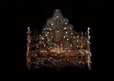 Antique Crown / Ethnic Ceremonial Headdress, Traditional Indonesian Bridal Gold Gilt, Filigree & Diamante Crown. Exquisite.. $253.00, via Etsy.