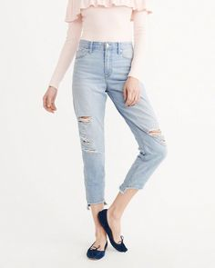High Rise Girlfriend Jeans by Abercrombie & Fitch