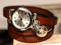 Wrap Watch wrist watch real dandelion genuine by RafFinesse Beaded Watches, Vintage Jewelry, Handmade Jewelry, Wire Wrapped Bracelet, Real Leather, Antique Silver, Bracelet Watch, Dandelion, Chain