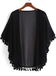 Kimono casual flecos suelto -negro-Spanish SheIn(Sheinside)                                                                                                                                                                                 Más