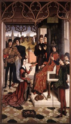 """Painting of the Day! Dirck Bouts (1415-1475) """"The Ordeal by Fire"""" Oil on wood 1460  To see more works by this artist please visit us at: http://www.artrenewal.org/pages/artwork.php?artworkid=21829&size=large"""