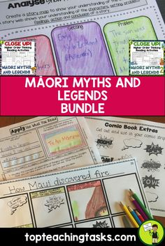 This Close Up Māori Myths and Legends BUNDLE features Reading Comprehension passages with Higher Order Thinking Tasks. It features eight Māori Myths and Legends (Volume One and Two), and contains a wide range of higher order thinking activities!  This Myths and Legend Bundle features the following TWO products:  Māori Myths and Legends - Close Reading Texts with Higher Order Thinking Māori Myths & Legends VOLUME 2 - Close Reading Texts with Higher Order Thinking