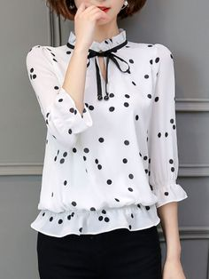 Tie Collar Keyhole Hollow Out Polka Dot Blouse- Cheap Blouses, Blouses For Women, Blouse Styles, Blouse Designs, Polka Dot Blouse, Polka Dots, Classy Outfits, Cute Outfits, Pencil Skirt Casual