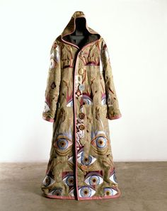 """Grayson Perry RA ~ """"Artist's Robe"""" Embroidered silk brocade, leather, printed linen and ceramic buttons. 179 x 70 cm. Courtesy the Artist and Victoria Miro, London ©Grayson Perry via Royal Academy of Arts Grayson Perry, Textile Fiber Art, Textile Artists, Fashion Identity, Royal Academy Of Arts, Textiles, Printed Linen, Embroidered Silk, Look Cool"""